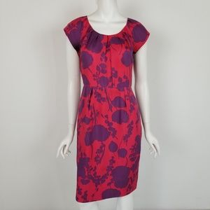 Boden Silk Floral Midi Sheath Dress Size 6
